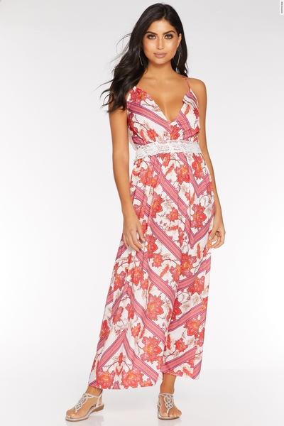 White Pink and Red Backless Maxi Dress